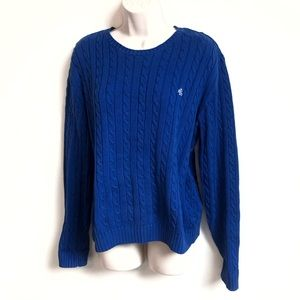 Ralph Lauren crew neck cable knit blue sweater
